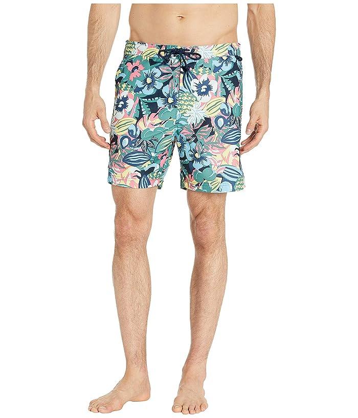 Original Penguin Jungle Print Fixed Waist Swim Shorts (Sargasso Sea) Men