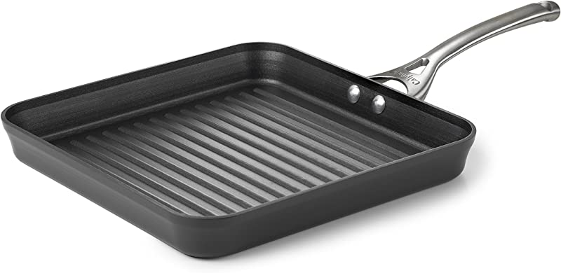 Calphalon Contemporary Hard Anodized Aluminum Nonstick Cookware Square Grill Pan 11 Inch Black