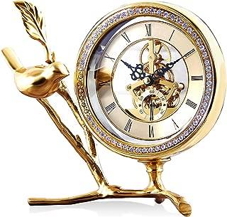MAGICOLOR Mantle/Desk Clock, Pure Copper Bird Figurine Shaped Design Clock with Diamond Small DecorativeTable Clock