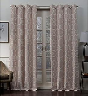 (roseblush, 52x96) - Exclusive Home Trilogi Woven Blackout Grommet Top Curtain Panel Pair