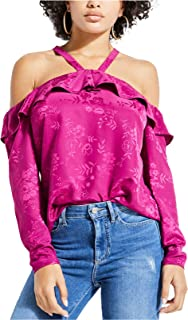 GUESS Women's Long Sleeve Darling Cold Shoulder Top