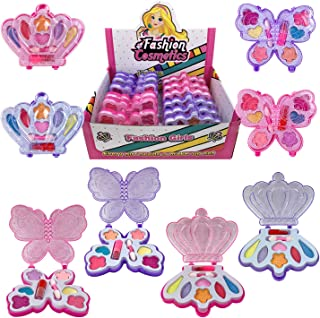 Liberty Imports Petite Girls Cosmetics Play Set - Washable and Non Toxic - Princess Real Makeup Kit with Case - Ideal Gift for Kids (12 Pack Favors)
