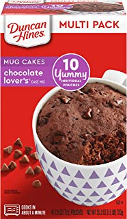 Duncan Hines Perfect Size for 1 Cake Mix, Ready in About a Minute, Chocolate Lover's Cake, 10 Individual Pouches, 2.5 Ounce (Pack of 10)