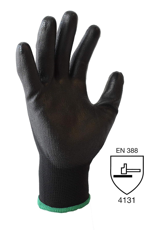 giardiniere elettricista ecc Taglia 9 rivestimento in poliuretano nylon nero guanti da muratore ASPRO 20 Paia di Guanti da Lavoro e da Giardinaggio L meccanico saldatore