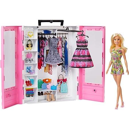 Barbie Fashionistas Armadio da Sogno Trasportabile con Bambola, Vestiti e Accessori, Giocattolo per Bambini 3+ Anni,GBK12
