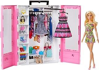 Barbie Fashionistas Le Dressing de Rêve rose et poupée blonde, fourni avec cintres et plus de 15 accessoires, jouet pour e...
