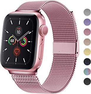 TRA Metal Band Compatible with Apple Watch 38mm 40mm 42mm 44mm, Stainless Steel Mesh Adjustable Replacement Strap Wristband Accessory for iWatch Series 5/4/3/2/1 Women & Men (Rose Pink, 38mm/40mm)