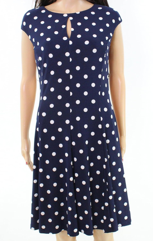 Lauren Ralph Lauren Womens Polka Dot Sleeveless Wear to Work Dress