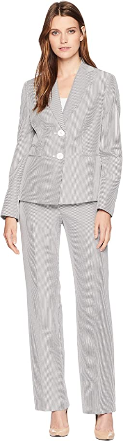 Seersucker Two-Button Peak Lapel Pants Suit