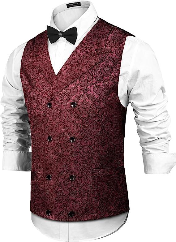 Men's Steampunk Vests, Waistcoats, Corsets COOFANDY Mens Victorian Vest Steampunk Double Breasted Suit Vest Slim Fit Brocade Paisley Floral Waistcoat  AT vintagedancer.com