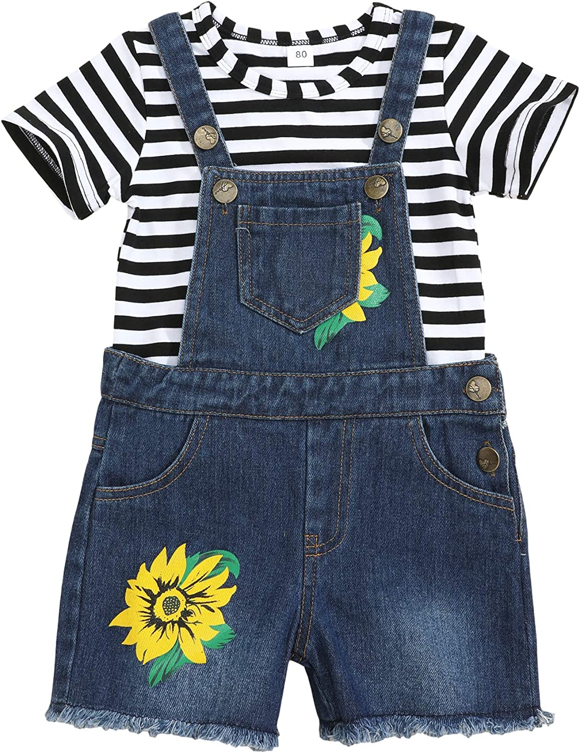 Toddler Baby Girl Clothes Overall Short Sleeve Stripe Shirt Denim Shorts Summer Set Clothes