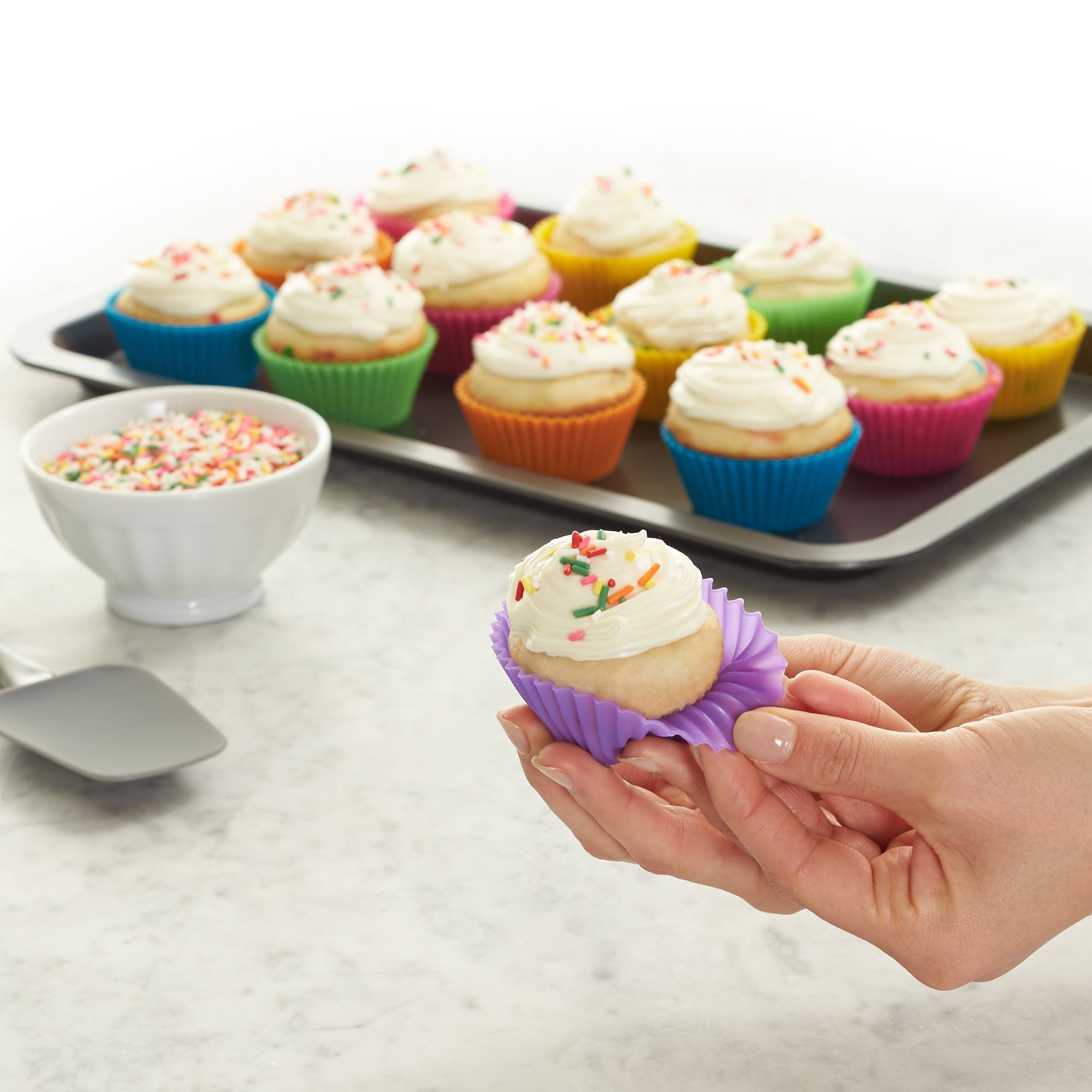 Amazon Basics Reusable Silicone Baking Cups, Muffin Liners - Pack of 12, Multicolor
