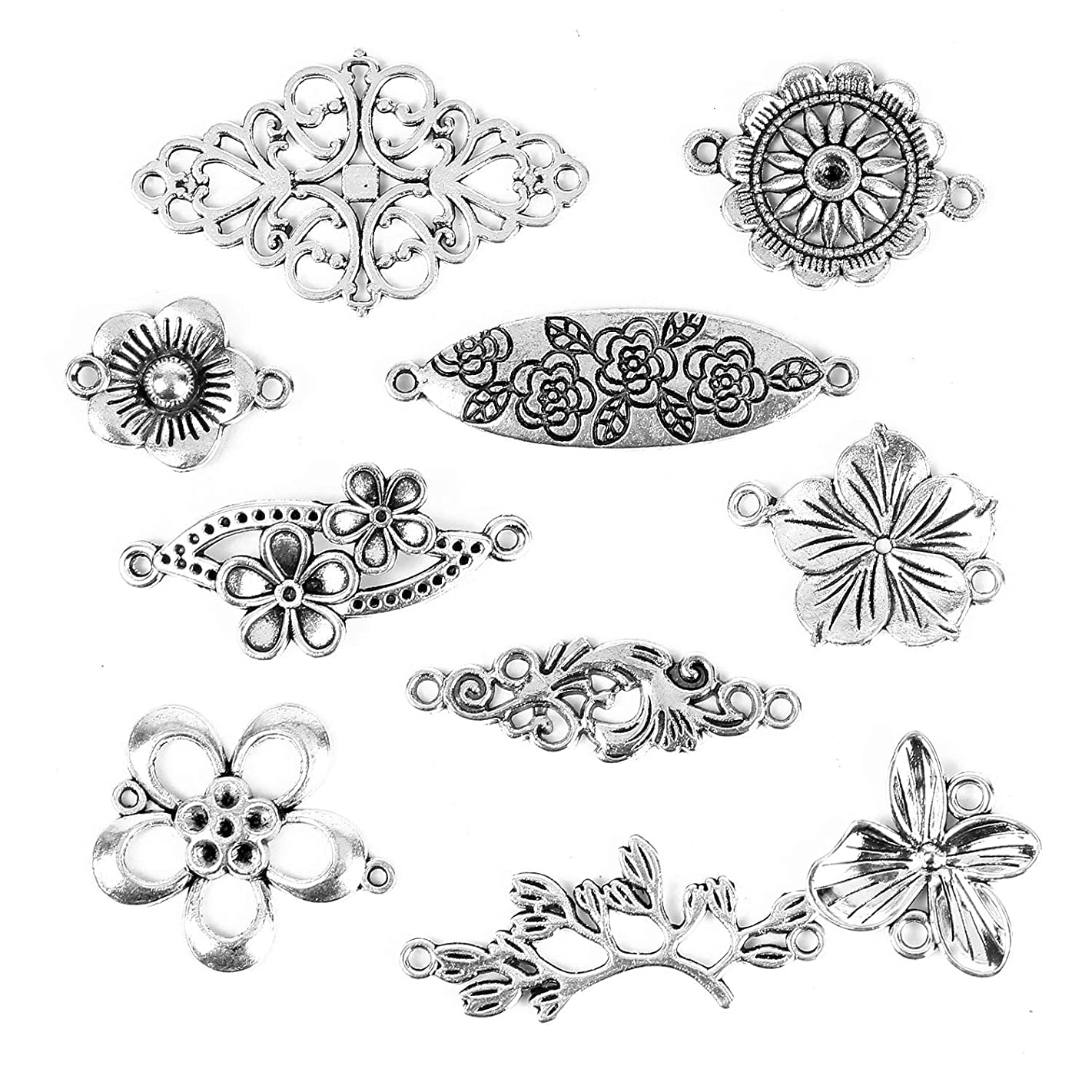 Monrocco 66 pcs Mixed Flower Connector Charms Pendants for Crafting