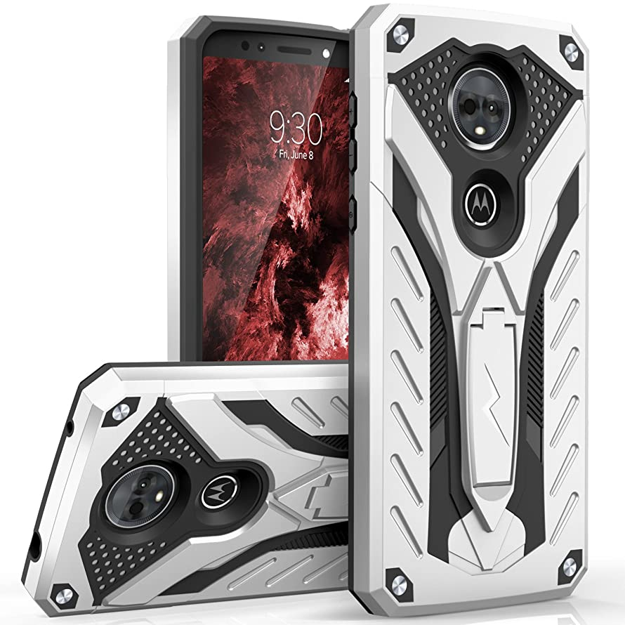 Zizo Static Series Compatible with Motorola Moto e5 Supra Case Military Grade Drop Tested with Built in Kickstand Moto e5 Plus Case Silver Black