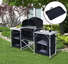 Folding Camping Kitchen Cabinet Picnic Table Cupboard Cooking Storage Travel