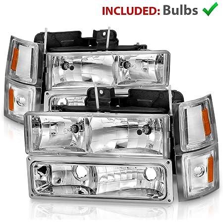 Chrome//Clear Amber Corner Headlight+Bumper Fits 1994-2000 Chevy C10 C//K Pickup