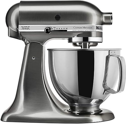 wholesale KitchenAid 2021 KSM152PSNK wholesale 5-Qt. Custom Metallic Series with Pouring Shield - Brushed Nickel (Renewed) online