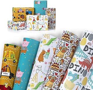 WolinTek Lot de 5 Papier Cadeau pour Enfants, Papier d'emballage Cadeau,5 Désign pour Anniversaire, Vacances, Noël, Mariag...