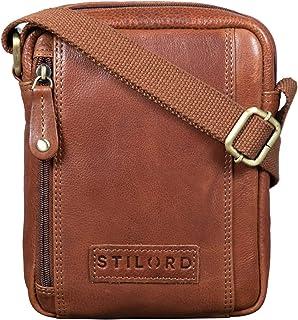 """STILORD Brandon"""" Herrentasche Leder Braun Umhängetasche klein Schultertasche Männer 7 Zoll Tablet Herrenhandtasche Messenger Bag Echtes Leder"""