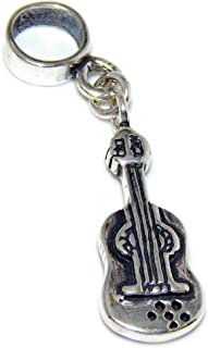 Solid 925 Sterling Silver Dangling Guitar Charm Bead