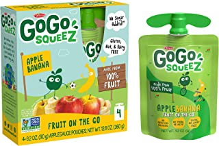 GoGo squeeZ Applesauce, Apple Banana, 3.2 Ounce (48 Pouches), Gluten Free, Vegan Friendly, Unsweetened Applesauce, Recloseable, BPA Free Pouches
