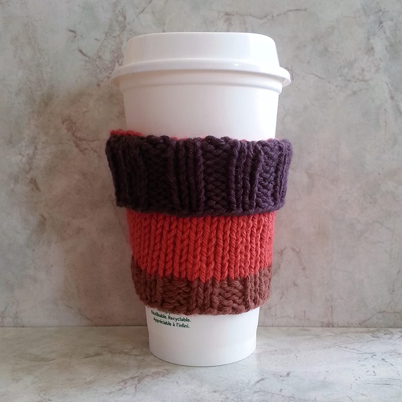 2 in 1 Coffee Cup Cozy Tri-Colored