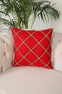 Ayşe Tasarım - Aishas Design-KIRLENT KILIFI 50X50 cm-Altın-Kırmızı