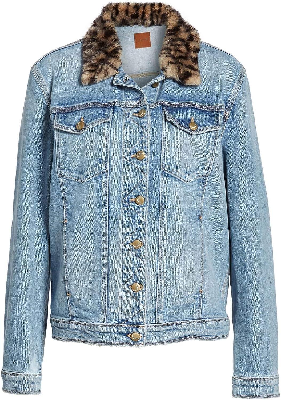 Joe's Jeans Women's Denim Faux-Fur Collar Boyfriend Jacket Light Blue Medium