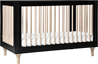Babyletto Lolly 3-in-1 Convertible Crib with Toddler Bed Conversion Kit, Black/Washed Natural