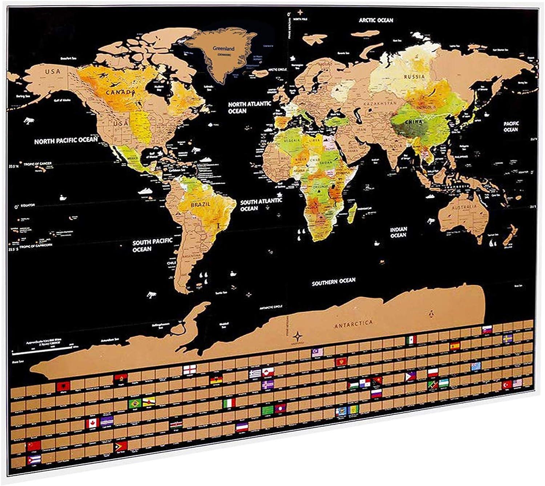 Idefair - Póster de mapa del mundo para rascar, con fondo de colores, banderas y kits de accesorios, para viajeros