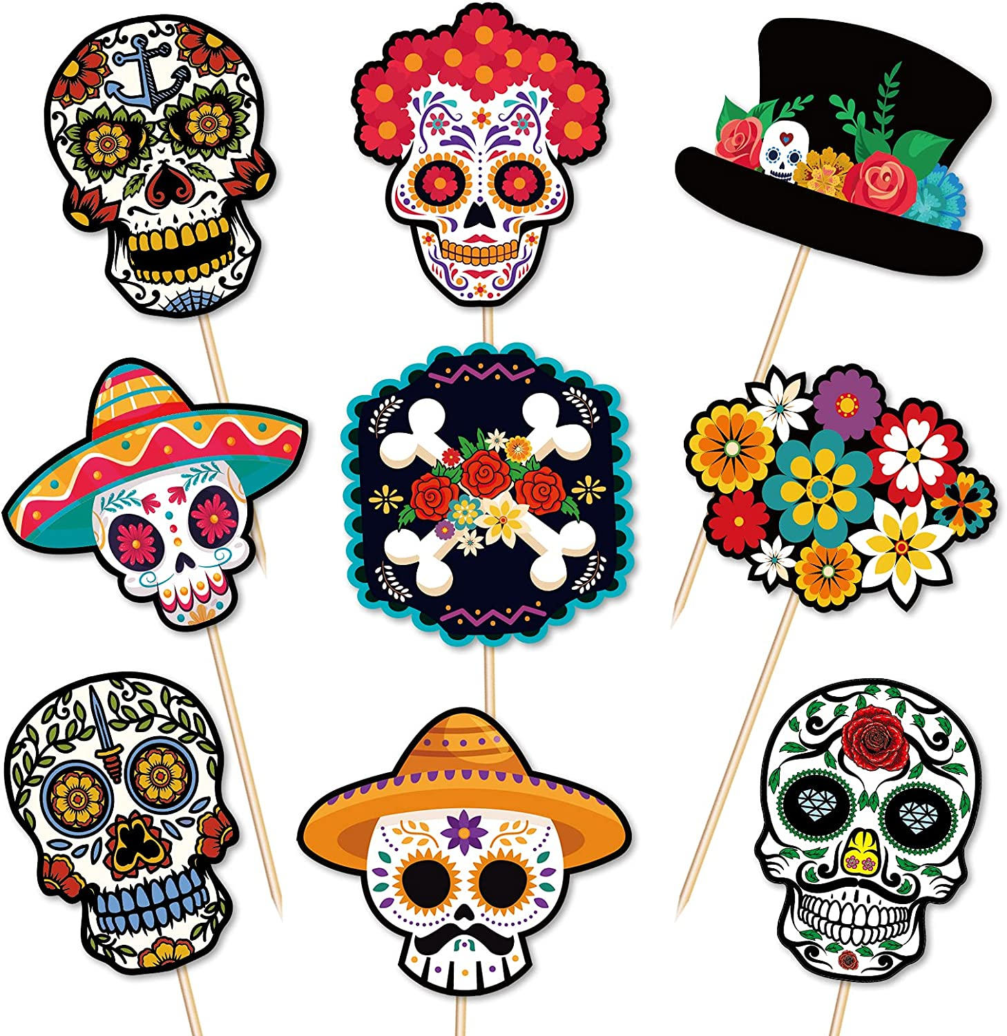 Day of The Dead Cupcake Toppers Decorations - Halloween Skull Mexican Food Picks Appetizers Toothpicks Sticks Party Supplies 144PCS