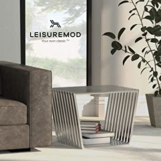 LeisureMod Modern Small Stainless Steel Trapezium Bench Set of 2 in Silver