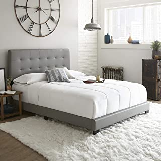 Boyd Sleep Murphy Upholstered Platform Bed Frame with Tufted Headboard: Faux Leather, Grey, Queen
