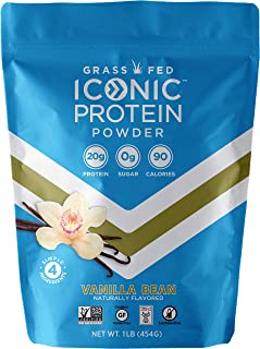 Iconic Protein Powder, Vanilla Bean, 1 Lb (18 Servings) | Sugar Free, Low Carb Protein Shake | 20g Grass Fed Whey Protein & Casein Protein | Lactose Free, Gluten Free, Kosher, Non-GMO | Keto Friendly