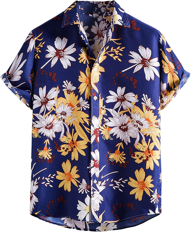 Mens Short Sleeve Linen Aloha Shirts Hawaiian-Print Leaves Flowers Blouse Casual Summer Beach Shirts Tops