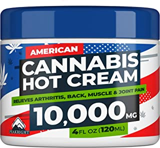 Hemp Cream for Pain Relief 4oz 10,000 Strength - Made in USA - Natural Hemp Oil Treatment for Joint, Muscle, Sciatica & Back Pain Relief - Hot Cream with Menthol & Eucalyptus