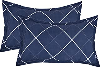 """RRC Luxurious Printed 2 Piece Gless Cotton Pillow Cover Set - 18""""x27"""", Multicolor (Blue Square)"""