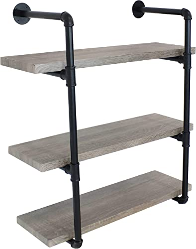 high quality Sunnydaze 3-Tier Wall-Mount Bookshelf - outlet sale Industrial Pipe Style Frame with Veneer Floating Shelves - Holds Books, Media, Storage Cubes, DVDs and wholesale More - Oak Gray online sale
