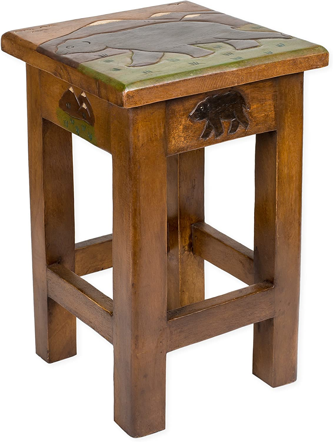 Bear Carved Acacia Hardwood 18 Inch End Table