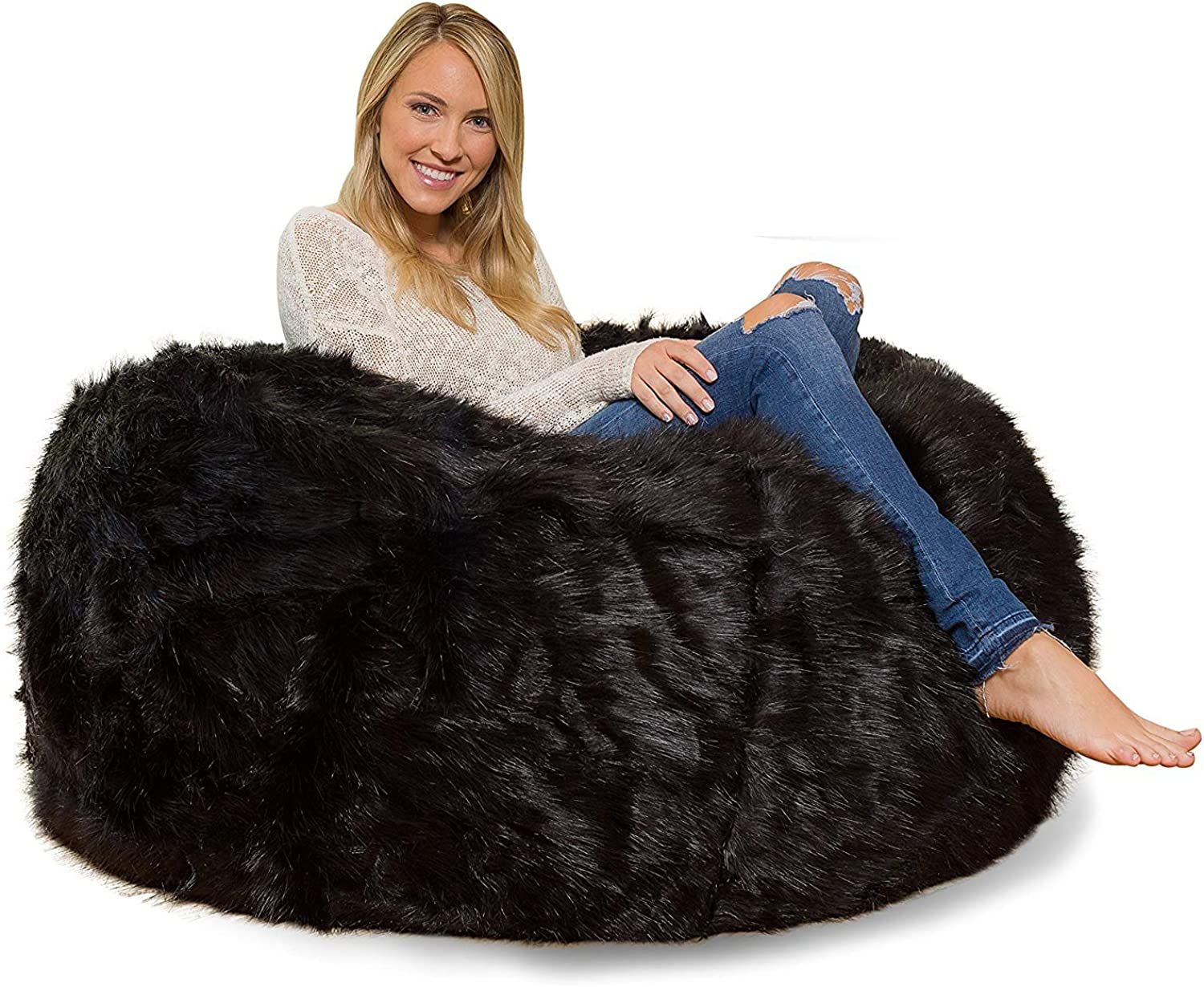 Healthybusiness1 1 PC Classic Fully Comfortable & Washable Furry Velvet Bean Bag Cover Without Beans (XXXL (54  x 54  x 36 ))