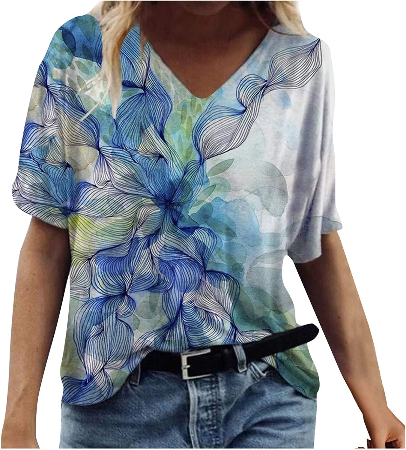 MASZONE Summer Tops for Women, Womens Scenic Print V-Neck T-Shirts Casual Short Sleeve Bouse Tops Plus Size Tunic Tee