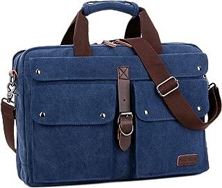 BAOSHA BC-07 17inch Canvas Laptop Computer Bag Messenger Bag Multicompartment Briefcase (Blue)
