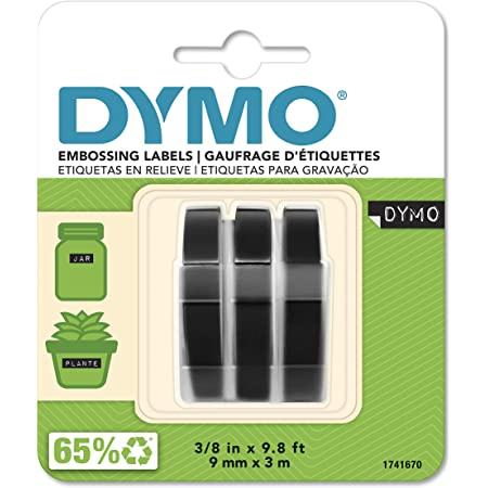DYMO 3D Plastic Embossing Labels for Embossing Label Makers, White Print on Black, 3/8'' x 9.8', 3-roll Pack (1741670)