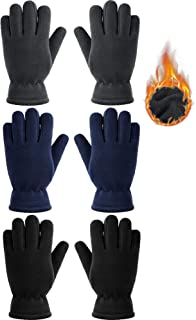 3 Pairs Kids Fleece Gloves Full Fingers Gloves Winter Soft Warm Gloves for Boys Girls Outdoors Activities Supplies (Black, Grey, Navy Blue, 5-8 Years)