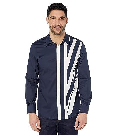 Perry Ellis Regular Fit Stretch Engineered Print Shirt (Dark Sapphire) Men