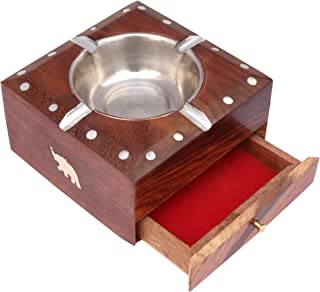 ITOS Handmade Wooden Ashtray with Cigarette Holder 4 Slots for Home Office Car Gifts
