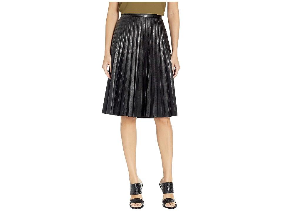 J.Crew Faux-Leather Pleated Midi Skirt (Black) Women