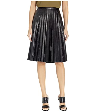 J.Crew Faux-Leather Pleated Midi Skirt (Black) Women