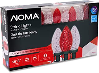 NOMA LED Christmas Lights | 25-Count C9 Red and Clear Pure White Bulbs | 16' 8