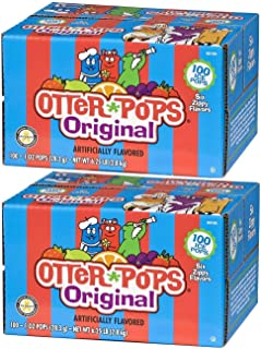 Otter Pops Assorted Flavors Ice Pops – Gluten & Fat Free Ice Pops, Flavorful Frozen Treats Contain Strawberry, Blue Raspberry, Grape, Lemon-Lime, Punch & Orange Flavors, 100 Count Per Pack - Pack of 2